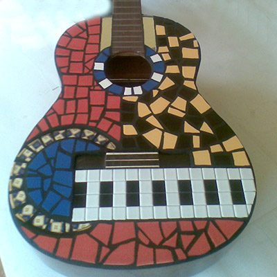 Mosaic guitar by Peter Charlish