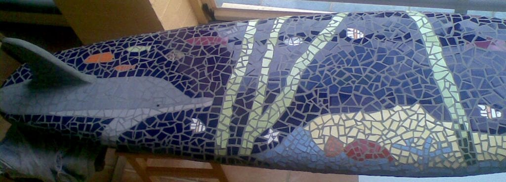 Bottom of mosaic surfboard by Peter Charlish