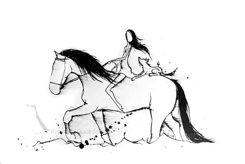 Ink drawing of a horse and girl