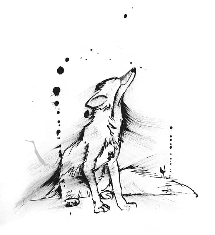 black sketch of a fox sitting