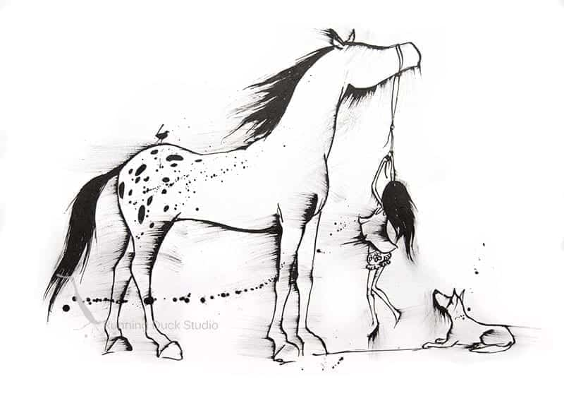 Running Duck Studio Ink Gallery - Appaloosa horse artwork by Running Duck Studio