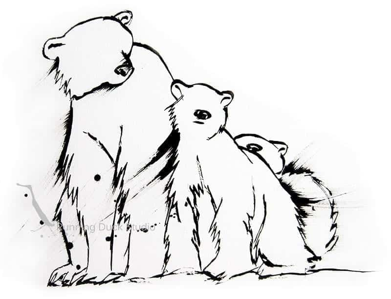Running Duck Studio Ink Gallery - ink sketch of Polar Bears