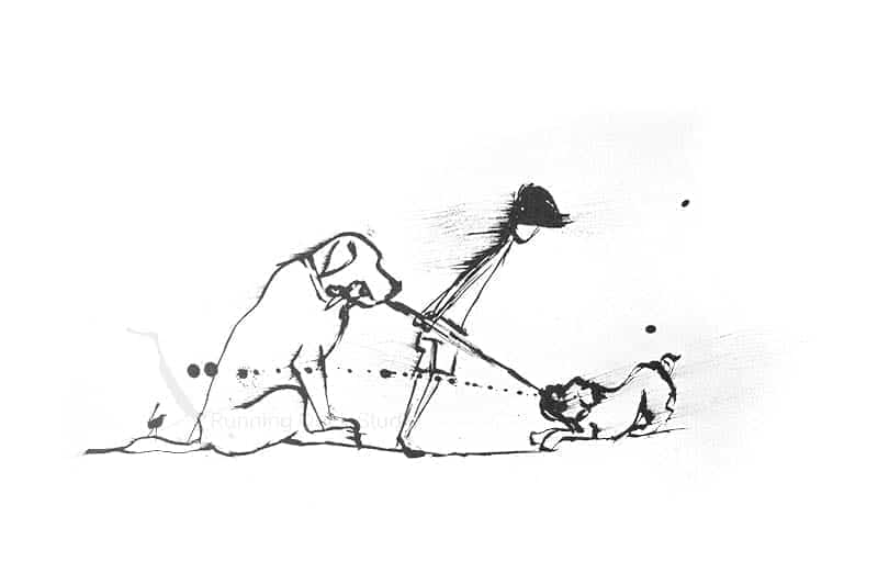 drawing of child and family pets playing